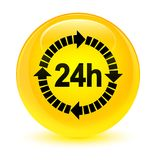 24 hours delivery icon glassy yellow round button. 24 hours delivery icon isolated on glassy yellow round button abstract illustration Stock Image