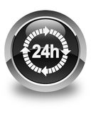 24 hours delivery icon glossy black round button. 24 hours delivery icon isolated on glossy black round button abstract illustration Stock Photos