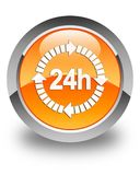 24 hours delivery icon glossy orange round button. 24 hours delivery icon isolated on glossy orange round button abstract illustration Royalty Free Stock Image
