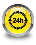 24 hours delivery icon glossy yellow round button. 24 hours delivery icon isolated on glossy yellow round button abstract illustration Royalty Free Stock Image