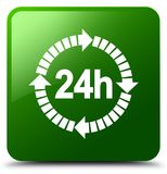 24 hours delivery icon green square button Stock Photos