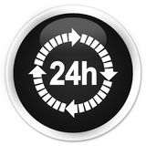 24 hours delivery icon premium black round button. 24 hours delivery icon isolated on premium black round button abstract illustration Stock Image