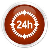 24 hours delivery icon premium brown round button. 24 hours delivery icon isolated on premium brown round button abstract illustration Royalty Free Stock Image