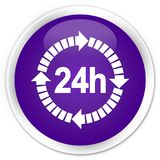 24 hours delivery icon premium purple round button. 24 hours delivery icon isolated on premium purple round button abstract illustration Royalty Free Stock Photos