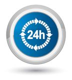 24 hours delivery icon prime blue round button. 24 hours delivery icon isolated on prime blue round button abstract illustration Royalty Free Stock Image