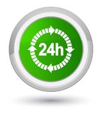 24 hours delivery icon prime green round button. 24 hours delivery icon isolated on prime green round button abstract illustration Royalty Free Stock Image