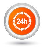24 hours delivery icon prime orange round button. 24 hours delivery icon isolated on prime orange round button abstract illustration Stock Image