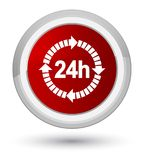 24 hours delivery icon prime red round button. 24 hours delivery icon isolated on prime red round button abstract illustration Royalty Free Stock Photography