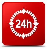 24 hours delivery icon red square button. 24 hours delivery icon isolated on red square button abstract illustration Stock Photography