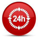 24 hours delivery icon special red round button. 24 hours delivery icon isolated on special red round button abstract illustration Stock Image