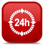24 hours delivery icon special red square button. 24 hours delivery icon isolated on special red square button abstract illustration Royalty Free Stock Photos