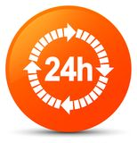 24 hours delivery icon orange round button. 24 hours delivery icon isolated on orange round button abstract illustration Royalty Free Stock Photos