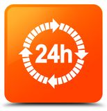 24 hours delivery icon orange square button Royalty Free Stock Image