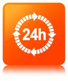 24 hours delivery icon orange square button. 24 hours delivery icon isolated on orange square button reflected abstract illustration Stock Image