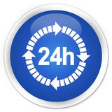 24 hours delivery icon premium blue round button. 24 hours delivery icon isolated on premium blue round button abstract illustration Stock Images