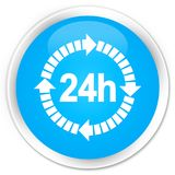 24 hours delivery icon premium cyan blue round button. 24 hours delivery icon isolated on premium cyan blue round button abstract illustration Royalty Free Stock Photo