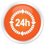 24 hours delivery icon premium orange round button. 24 hours delivery icon isolated on premium orange round button abstract illustration Stock Photography