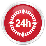 24 hours delivery icon premium red round button Stock Photo