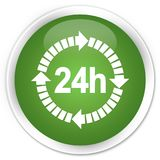24 hours delivery icon premium soft green round button. 24 hours delivery icon isolated on premium soft green round button abstract illustration Royalty Free Stock Photography