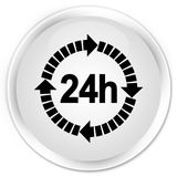 24 hours delivery icon premium white round button. 24 hours delivery icon isolated on premium white round button abstract illustration Royalty Free Stock Photo