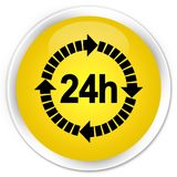 24 hours delivery icon premium yellow round button. 24 hours delivery icon isolated on premium yellow round button abstract illustration Royalty Free Stock Image