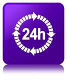 24 hours delivery icon purple square button. 24 hours delivery icon isolated on purple square button reflected abstract illustration Stock Images