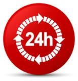 24 hours delivery icon red round button. 24 hours delivery icon  on red round button abstract illustration Royalty Free Stock Image