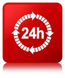 24 hours delivery icon red square button. 24 hours delivery icon isolated on red square button reflected abstract illustration Stock Image