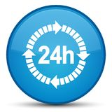 24 hours delivery icon special cyan blue round button Stock Photography
