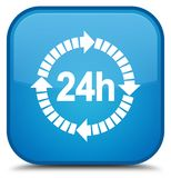 24 hours delivery icon special cyan blue square button. 24 hours delivery icon isolated on special cyan blue square button abstract illustration Royalty Free Stock Images