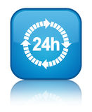 24 hours delivery icon special cyan blue square button Royalty Free Stock Photo