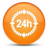24 hours delivery icon special orange round button. 24 hours delivery icon isolated on special orange round button abstract illustration Stock Image