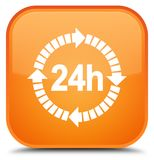 24 hours delivery icon special orange square button. 24 hours delivery icon isolated on special orange square button abstract illustration Royalty Free Stock Photos