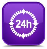 24 hours delivery icon special purple square button. 24 hours delivery icon isolated on special purple square button abstract illustration Stock Photo