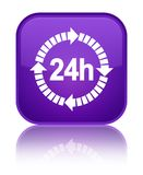 24 hours delivery icon special purple square button. 24 hours delivery icon  on special purple square button reflected abstract illustration Royalty Free Stock Images