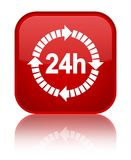 24 hours delivery icon special red square button. 24 hours delivery icon isolated on special red square button reflected abstract illustration Stock Image