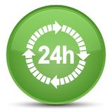 24 hours delivery icon special soft green round button. 24 hours delivery icon isolated on special soft green round button abstract illustration Royalty Free Stock Images