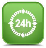 24 hours delivery icon special soft green square button. 24 hours delivery icon isolated on special soft green square button abstract illustration Royalty Free Stock Photography
