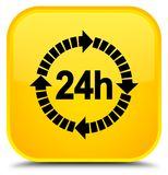 24 hours delivery icon special yellow square button. 24 hours delivery icon isolated on special yellow square button abstract illustration Royalty Free Stock Image