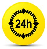24 hours delivery icon yellow round button. 24 hours delivery icon  on yellow round button abstract illustration Stock Photo