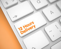 12 Hours Delivery - Inscription on White Keyboard Button. 3D. Business Concept with Aluminum Enter White Button on the Keyboard: 12 Hours Delivery. Inscription Royalty Free Stock Photo