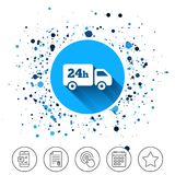 24 hours delivery service. Cargo truck symbol. Button on circles background. 24 hours delivery service. Cargo truck symbol. Calendar line icon. And more line Stock Photo