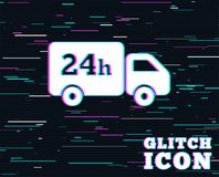 24 hours delivery service. Cargo truck symbol. Glitch effect. 24 hours delivery service. Cargo truck symbol. Background with colored lines. Vector Royalty Free Stock Image