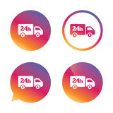 24 hours delivery service. Cargo truck symbol. Gradient buttons with flat icon. Speech bubble sign. Vector Stock Photo