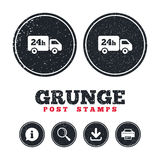 24 hours delivery service. Cargo truck symbol. Grunge post stamps. 24 hours delivery service. Cargo truck symbol. Information, download and printer signs. Aged Royalty Free Stock Photo