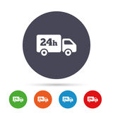 24 hours delivery service. Cargo truck symbol. Royalty Free Stock Photo