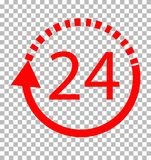 24 hours delivery on transparent background, 24 hours delivery. Sign. flat style. 24 hours icon for your web site design, logo, app, UI Stock Image