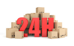 24 hours delivery. Transportation and shipping. Separated on white Stock Photography