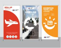 24 hours delivery, Triangular arrows, Air transport roll up. 24 hours delivery modern business roll up banner design template, Triangular arrows creative poster Stock Image