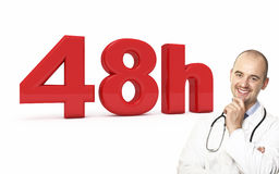 48 hours doctor service. 3d image of 48h and smiling doctor Stock Images